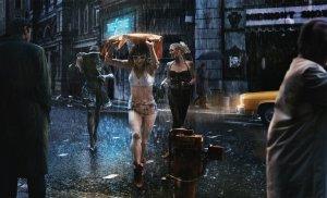 girls in rain