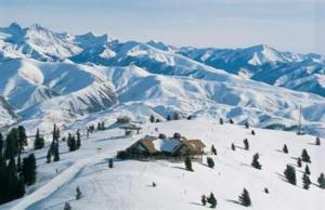 Sun Valley resort shows a snowy landscape with a cabin nestled in