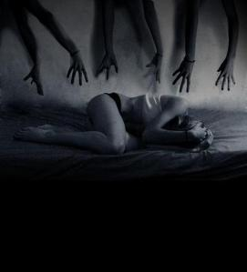 Hands reach down for her from :http://remycarreiro.com/wp-content/uploads/2012/09/nightmare_by_lucyluh_large1.jpg