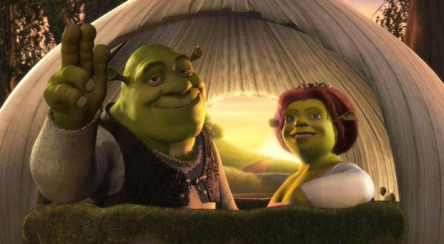 shrek and fiona in love