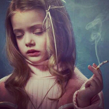 little smoking girl